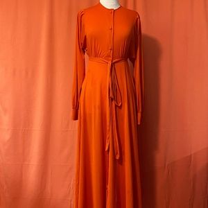 1970s Miss Dior Orange Empire Tie-Waist Dress